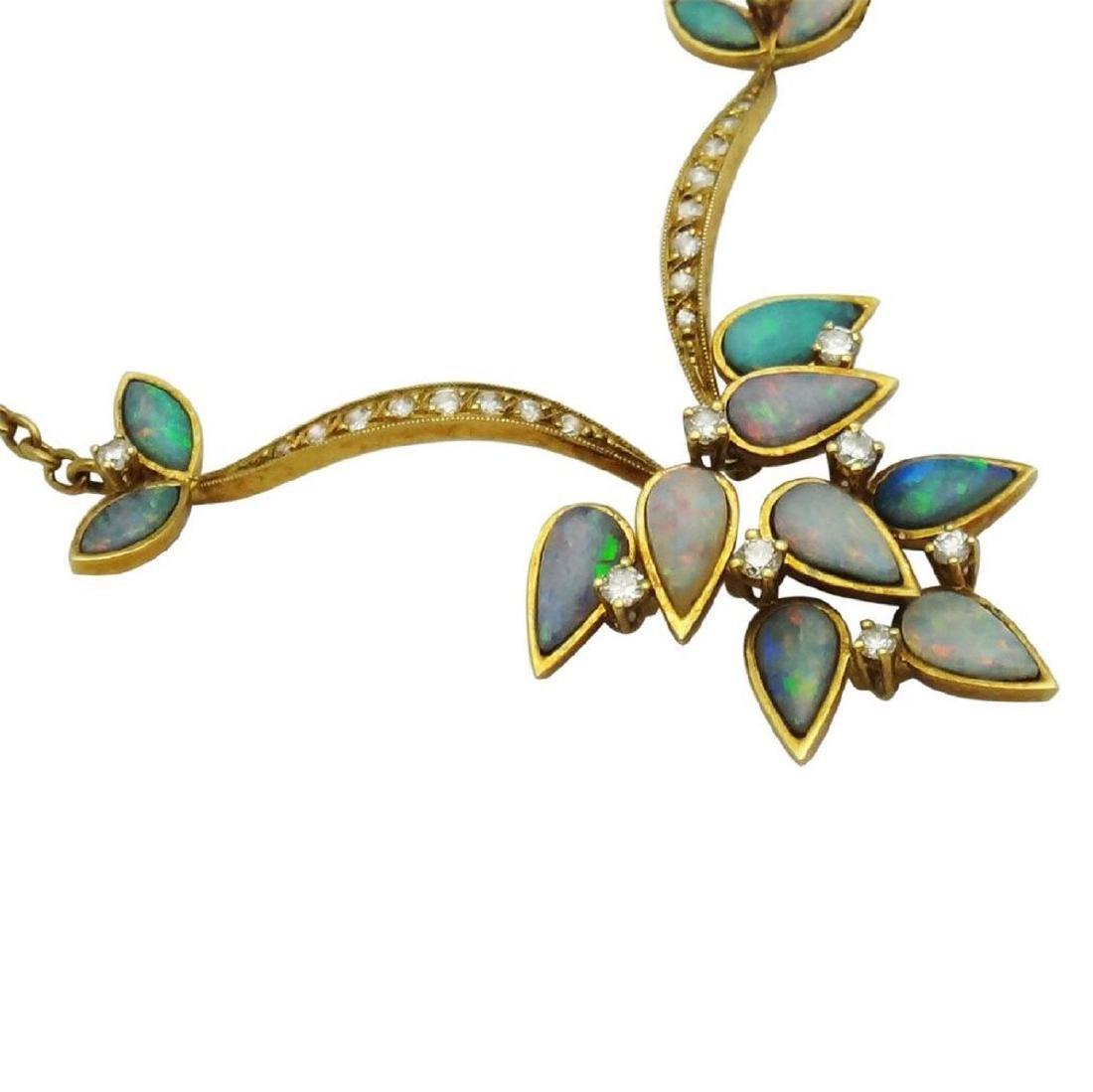 18K Opal Diamond Necklace Earrings & Ring Set - 3
