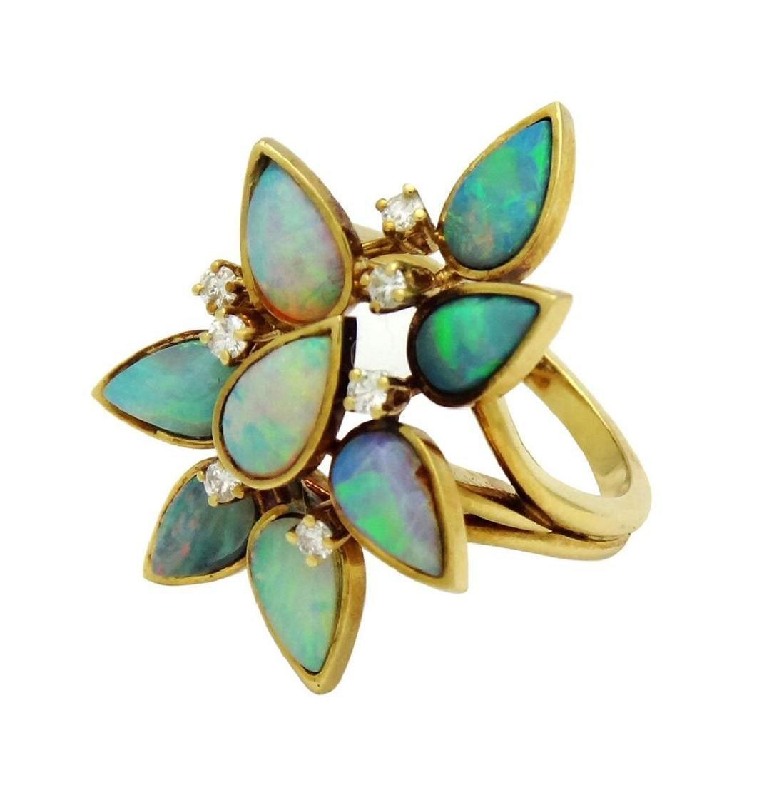 18K Opal Diamond Necklace Earrings & Ring Set - 5