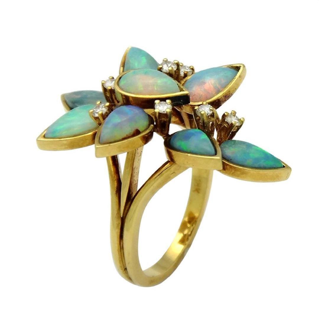 18K Opal Diamond Necklace Earrings & Ring Set - 6