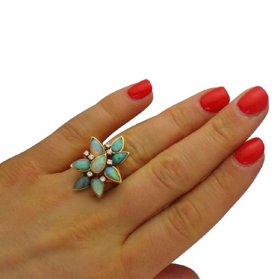 18K Opal Diamond Necklace Earrings & Ring Set - 8