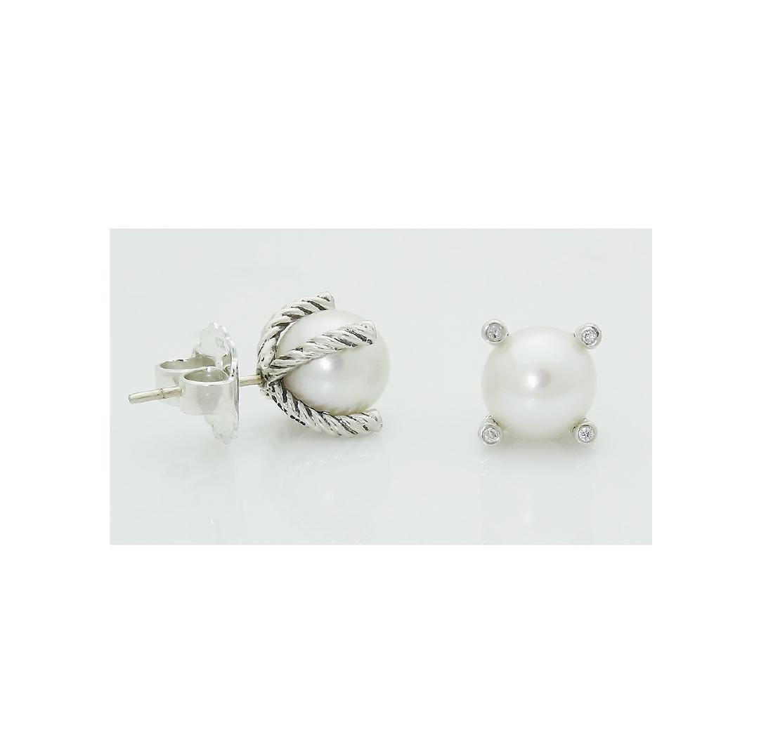 DAVID YURMAN Sterling Silver Pearl Earrings with - 2