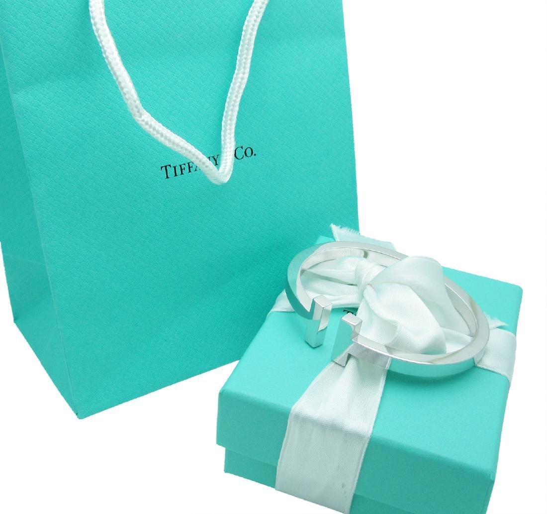 Tiffany & Co. 750 18K White Gold T Bangle Bracelet