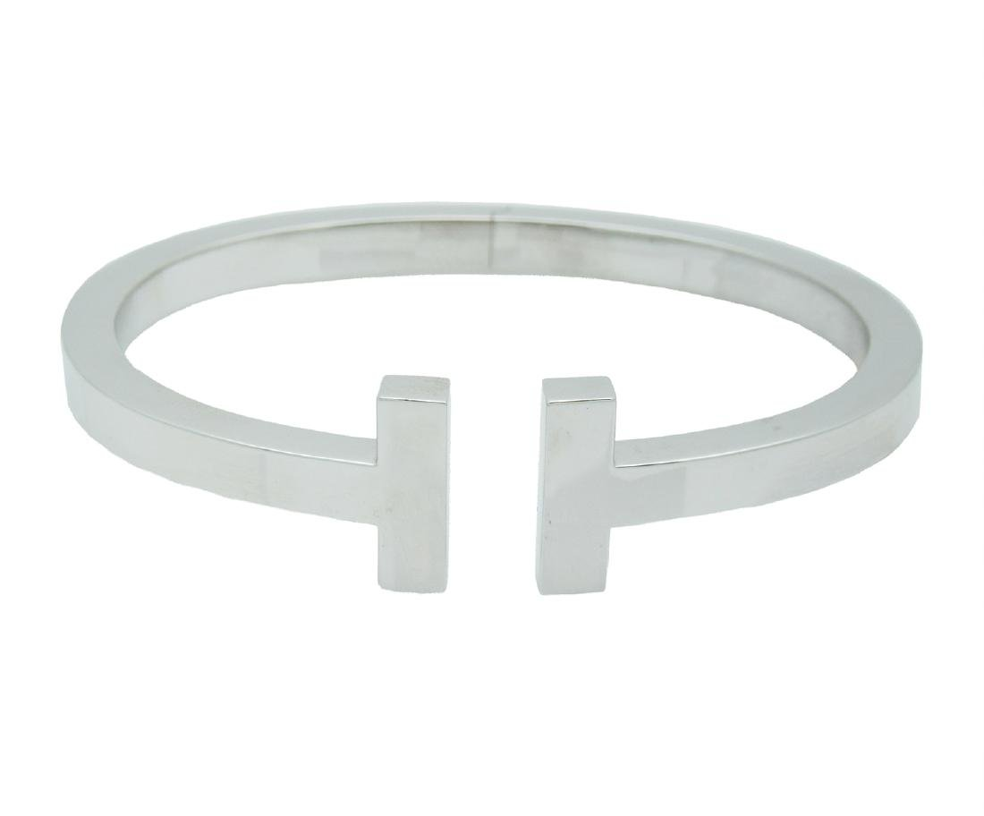 Tiffany & Co. 750 18K White Gold T Bangle Bracelet - 2