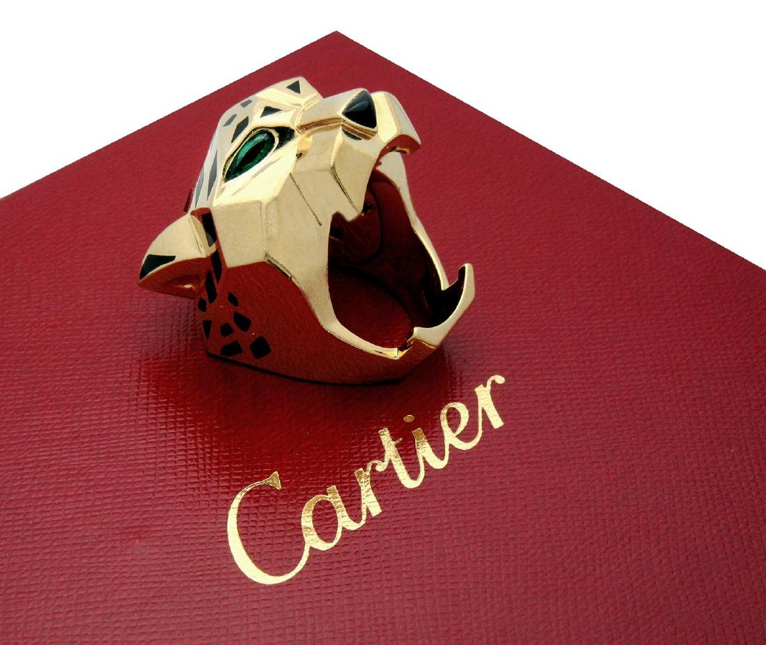 Panther De Cartier 18k Yellow Gold Onyx Peridot Ring