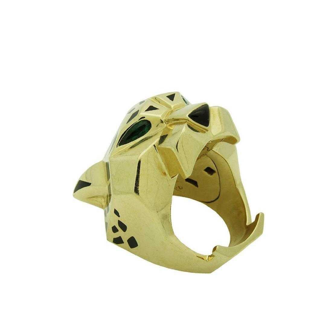 Panther De Cartier 18k Yellow Gold Onyx Peridot Ring - 2