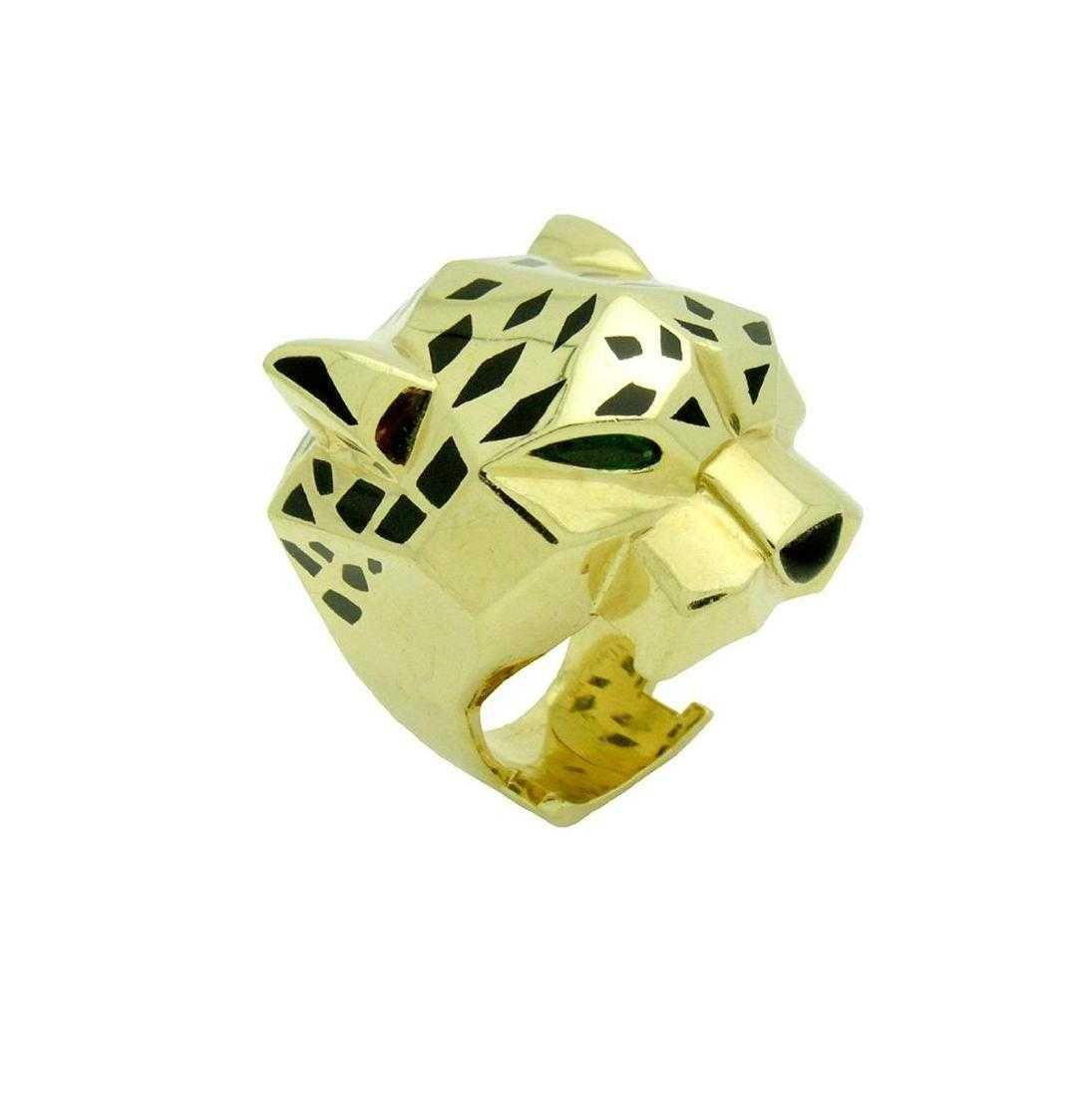 Panther De Cartier 18k Yellow Gold Onyx Peridot Ring - 3