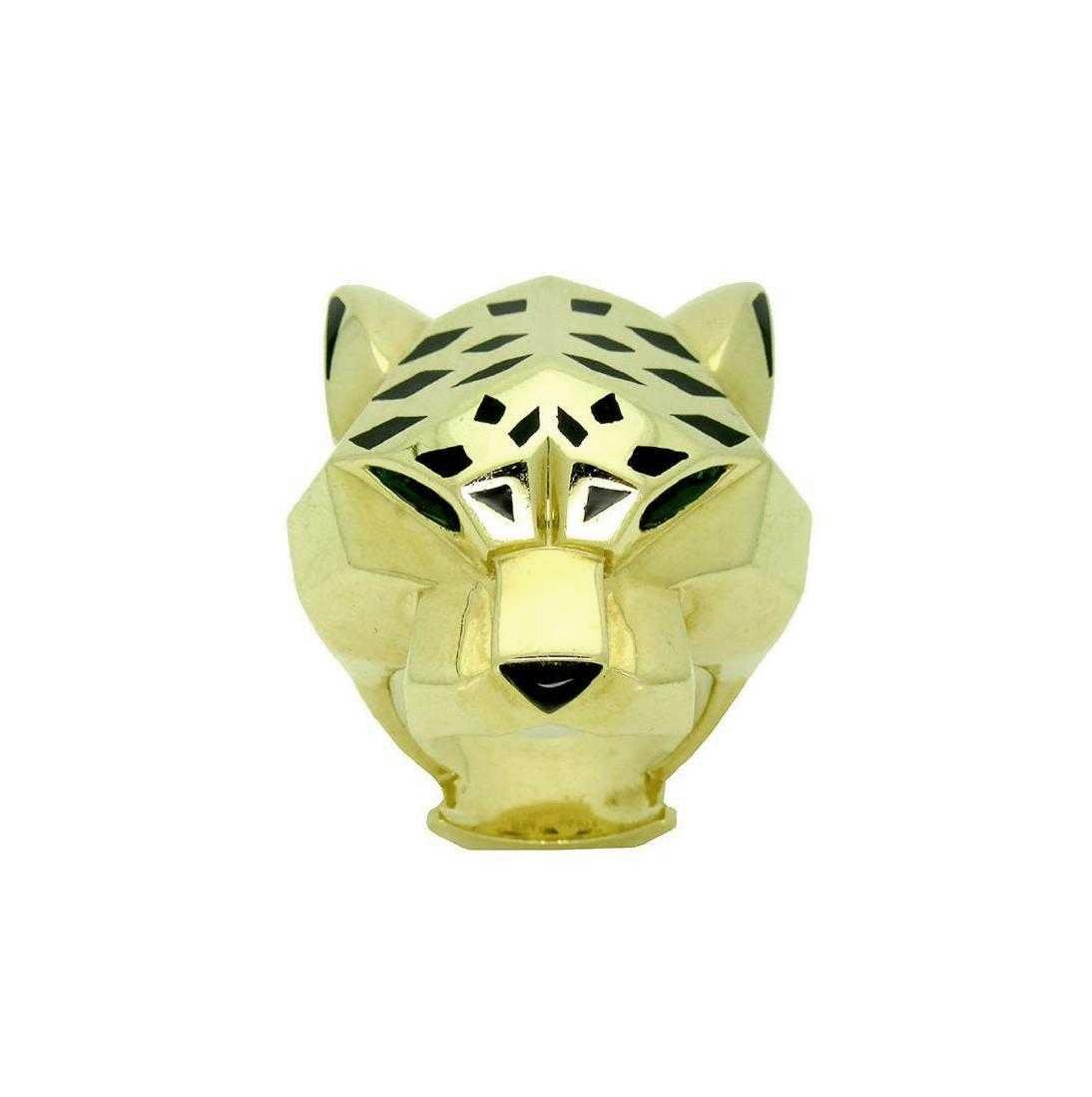 Panther De Cartier 18k Yellow Gold Onyx Peridot Ring - 4