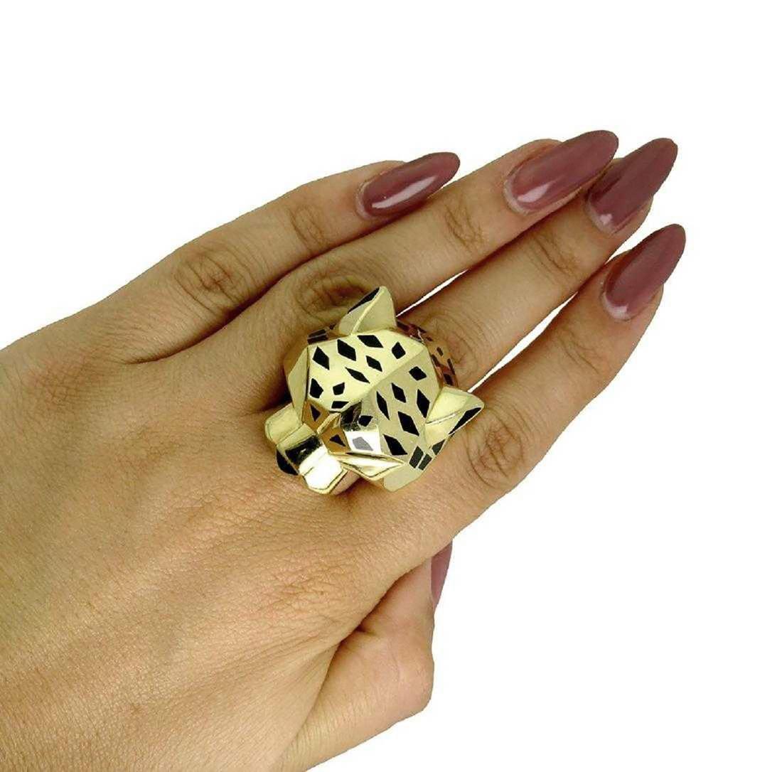 Panther De Cartier 18k Yellow Gold Onyx Peridot Ring - 5