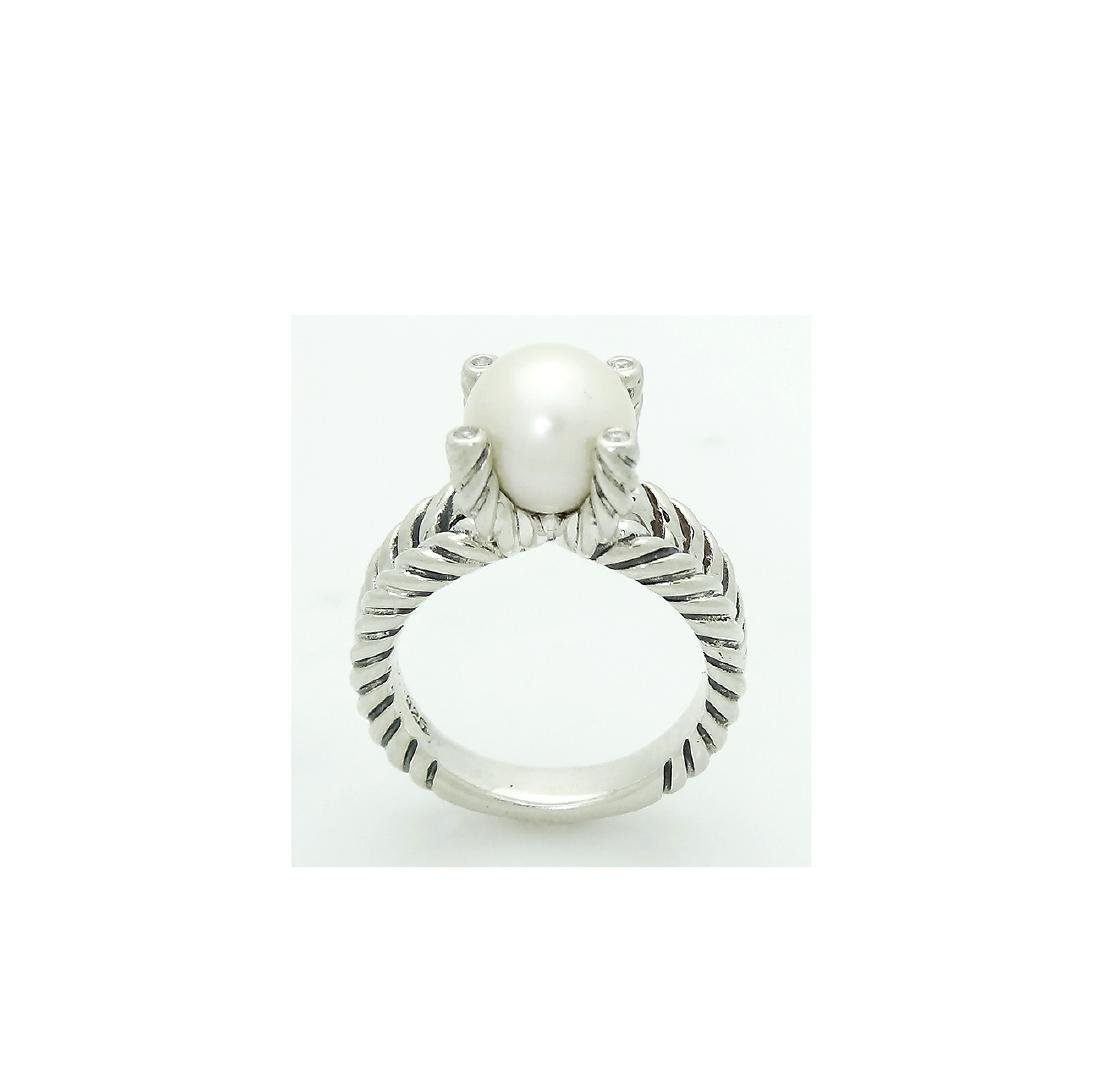 DAVID YURMAN Sterling Silver Cable Ring with Pearl and - 4