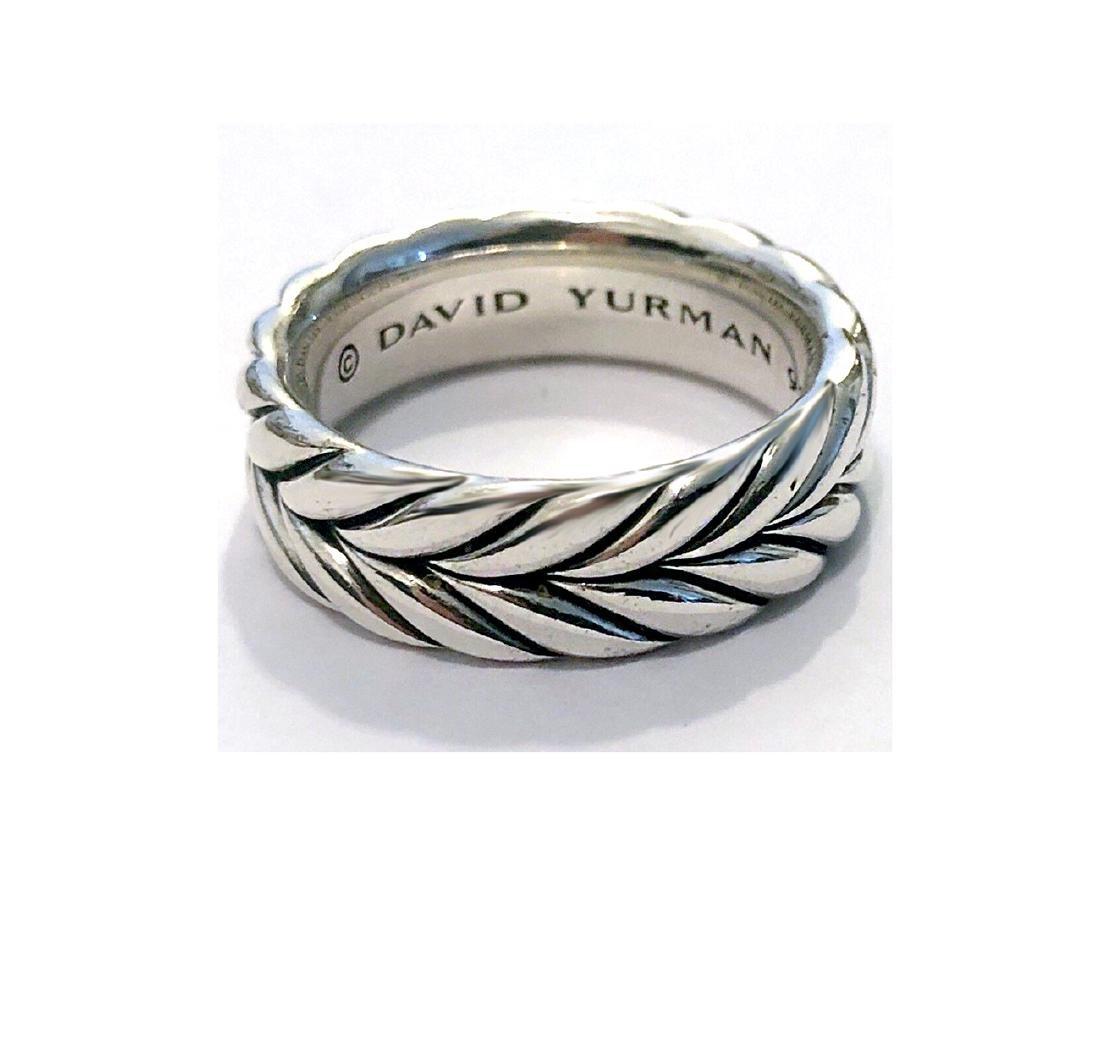 David Yurman Sterling Silver Chevron MenÂ's Ring sz