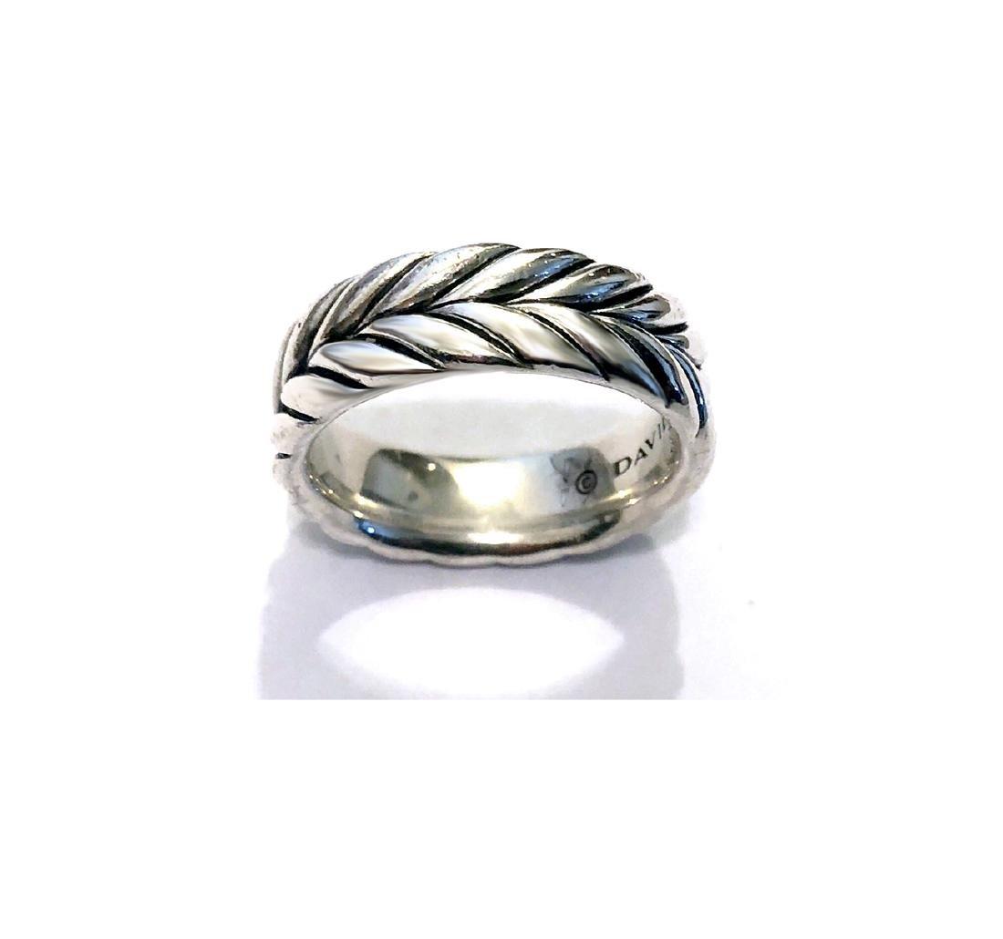 David Yurman Sterling Silver Chevron MenÂ's Ring sz - 2