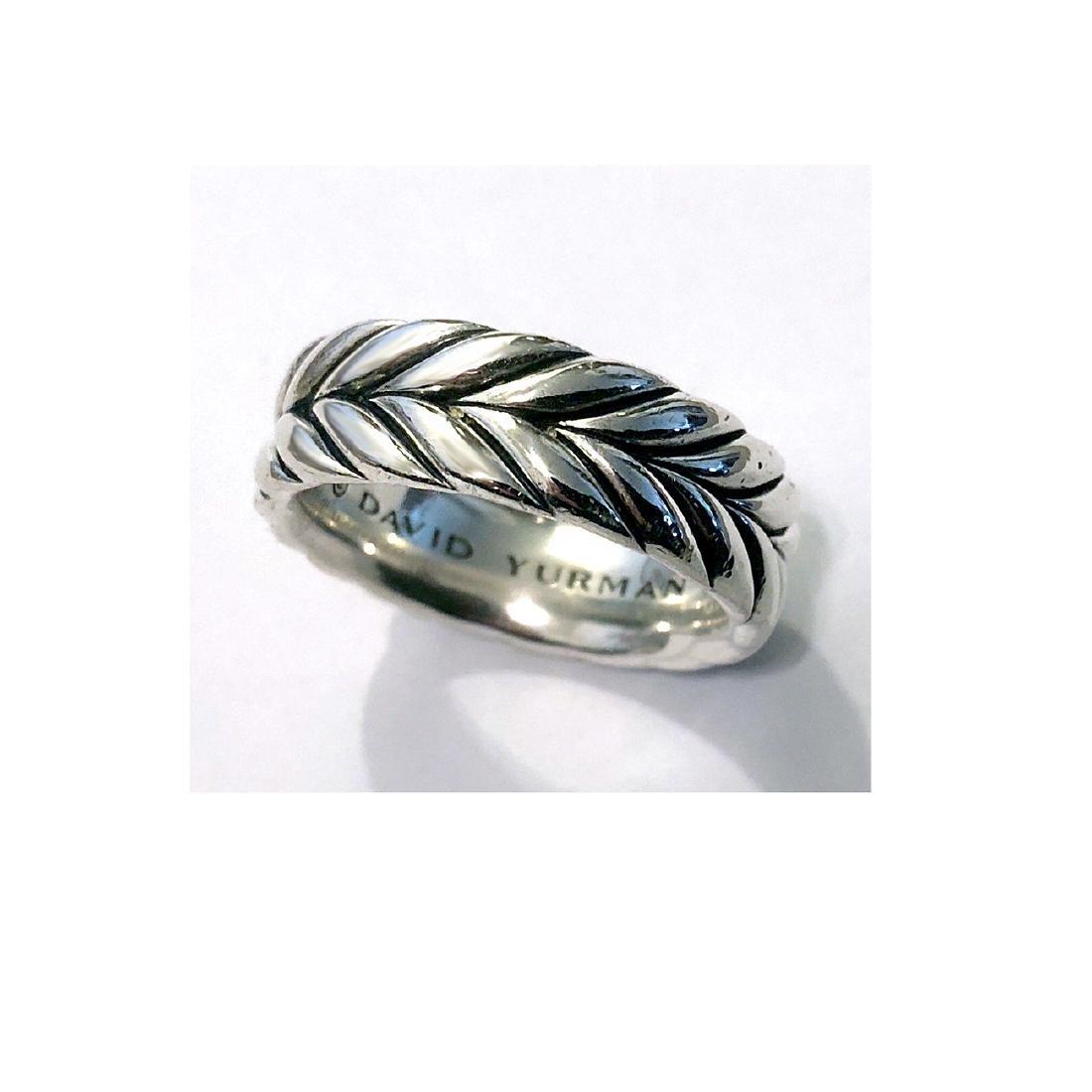 David Yurman Sterling Silver Chevron MenÂ's Ring sz - 3