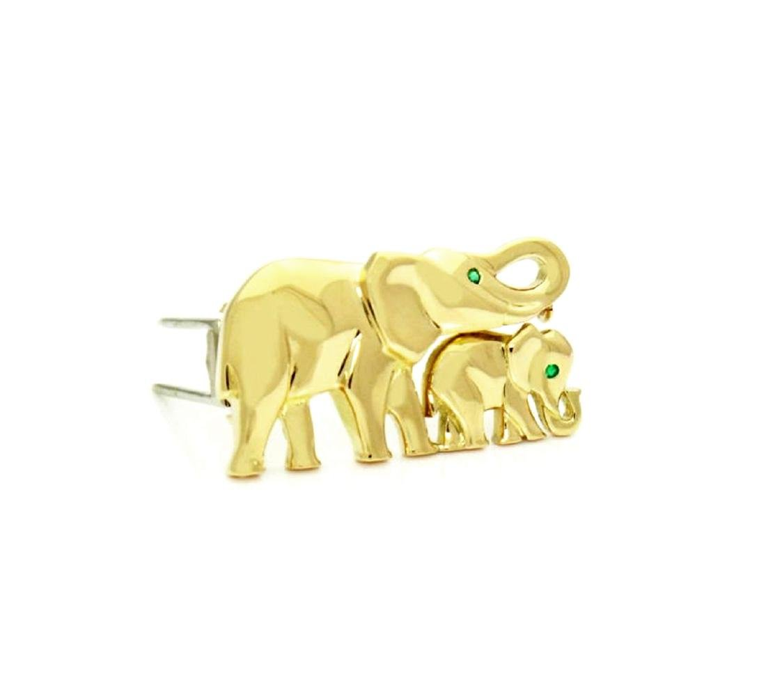Cartier Emerald & 18K Gold Elephant Mother Child Pin - 4