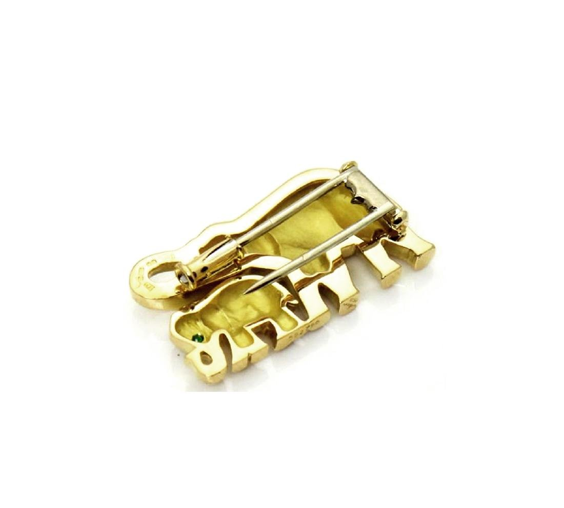 Cartier Emerald & 18K Gold Elephant Mother Child Pin - 6