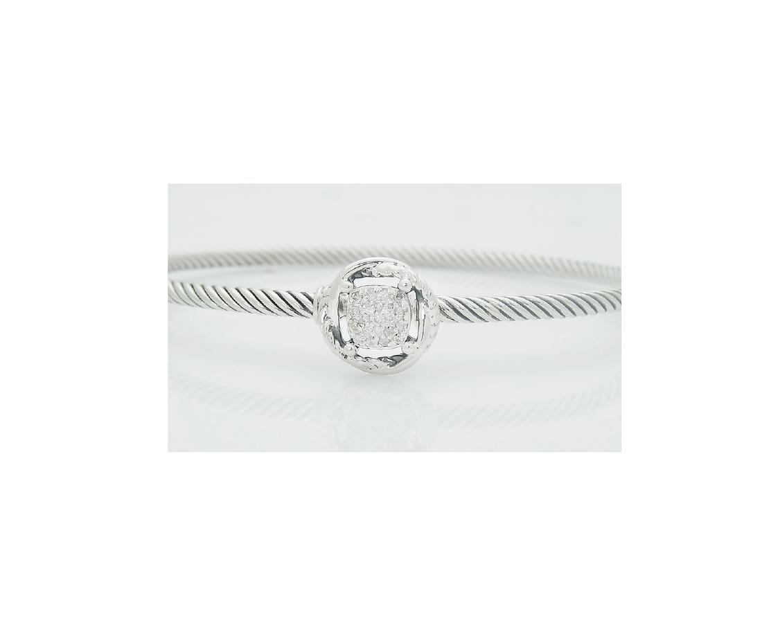 David Yurman 925 Sterling Silver Infinity Bracelet with - 2