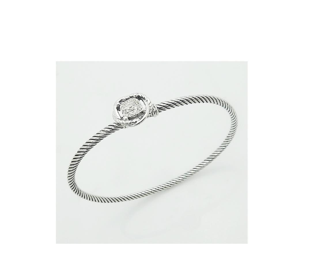 David Yurman 925 Sterling Silver Infinity Bracelet with - 4