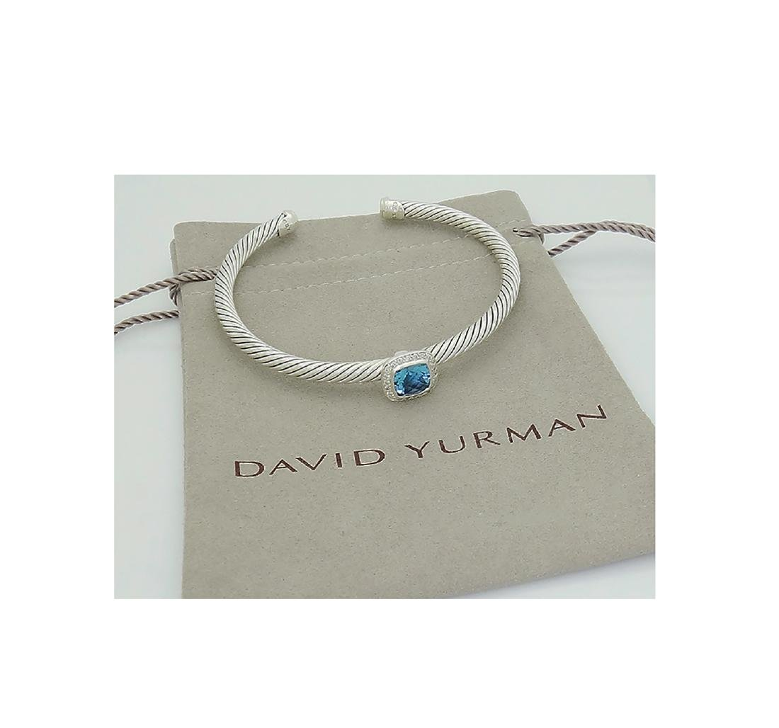 David Yurman 925 Sterling Silver Albion Blue Topaz with - 4