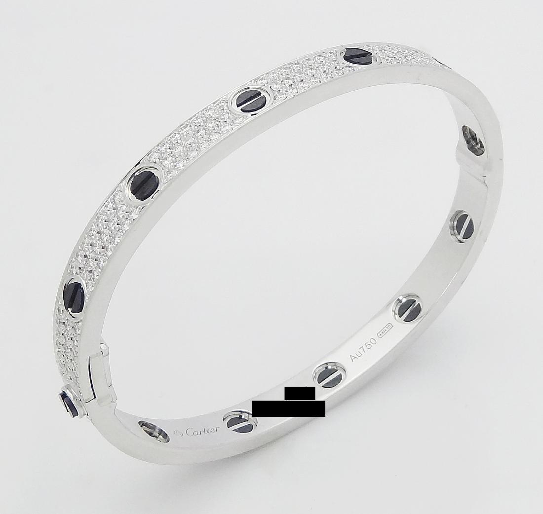 Cartier 18k Black Ceramic Diamond Paved Love Bracelet - 3