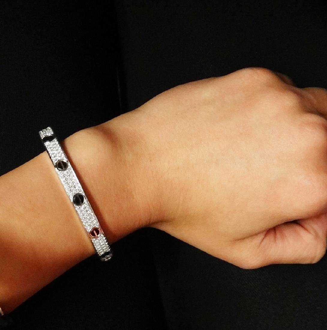 Cartier 18k Black Ceramic Diamond Paved Love Bracelet - 4
