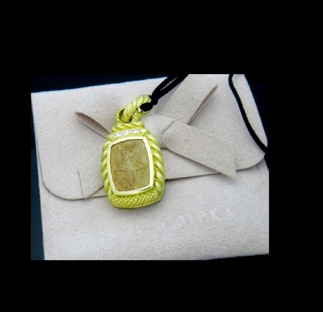 Judith Ripka Cameo Pendant 18k Yellow Gold 0.25ct VS E