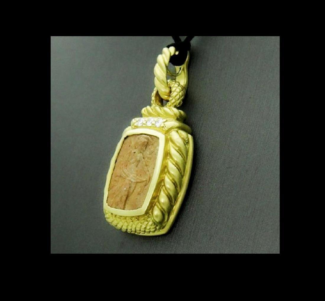 Judith Ripka Cameo Pendant 18k Yellow Gold 0.25ct VS E - 5