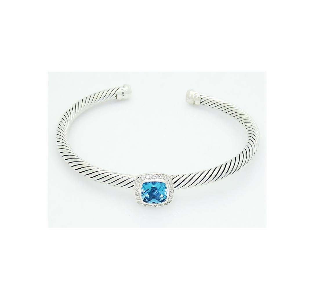 David Yurman 925 Sterling Silver Albion Blue Topaz with