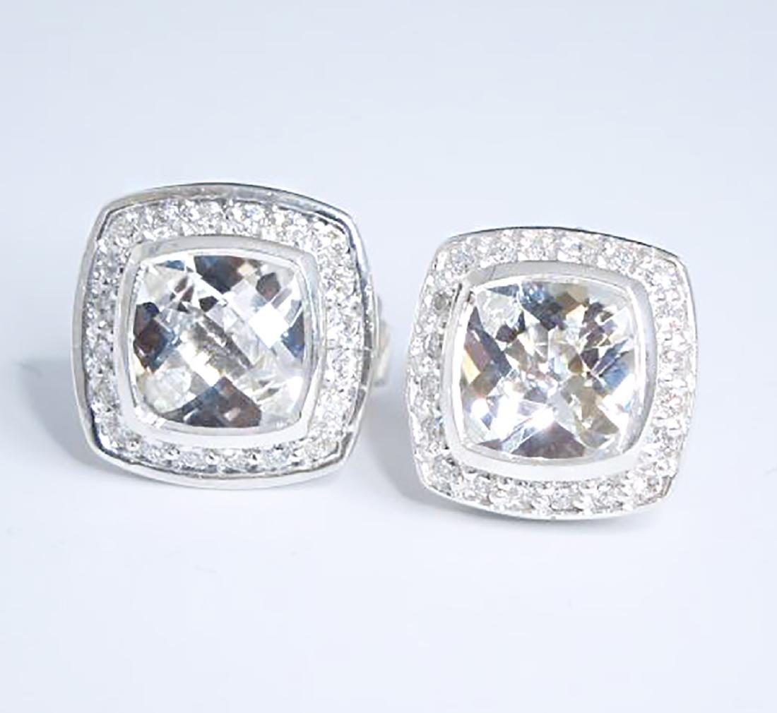 David Yurman 925 Sterling Silver Albion Earrings Topaz