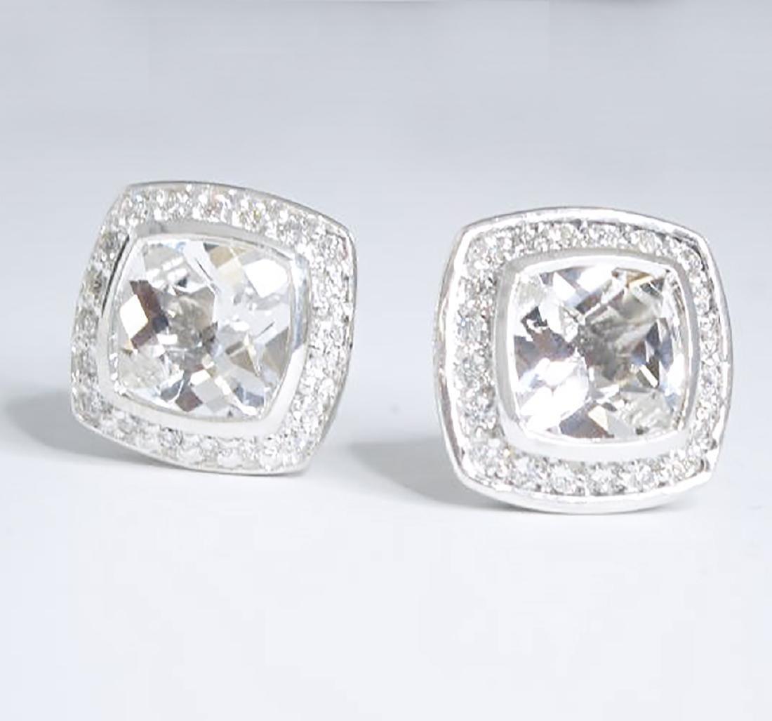 David Yurman 925 Sterling Silver Albion Earrings Topaz - 2