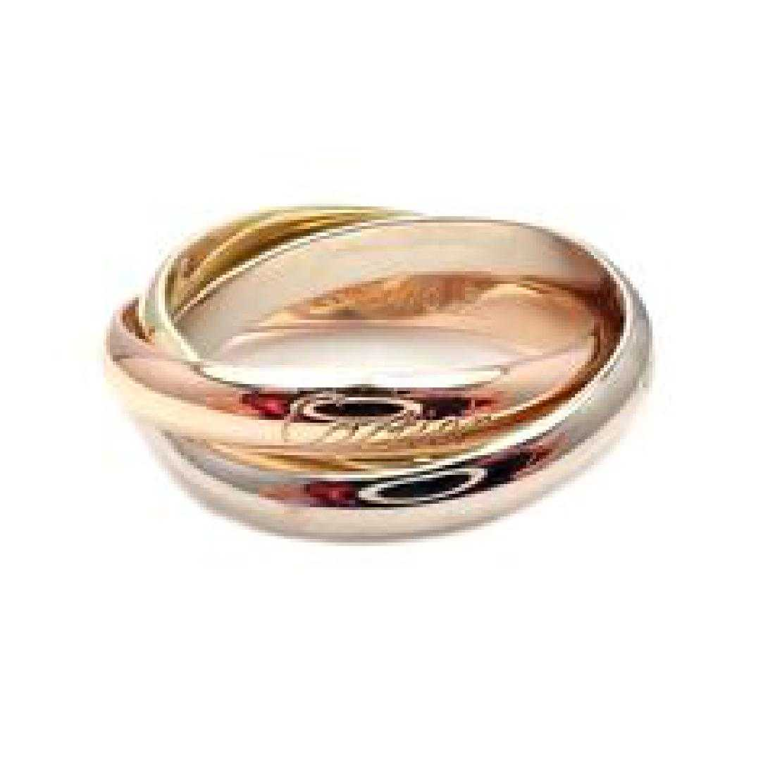 0602d742a646 Cartier 18k Tri-Color Gold Trinity Band Ring Size 63 10