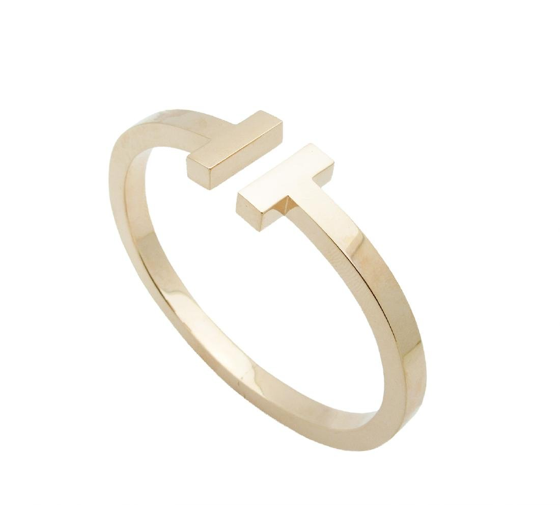 Tiffany & Co. 750 18K Rose Gold T Bangle Bracelet - 2