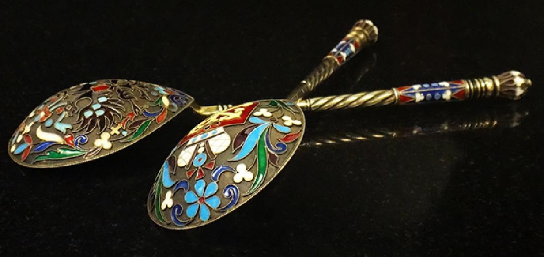 Large Russian silver enamel pair of spoons
