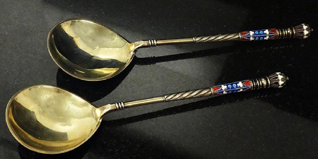 Large Russian silver enamel pair of spoons - 2