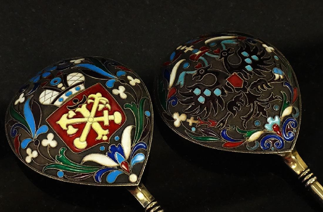 Large Russian silver enamel pair of spoons - 3