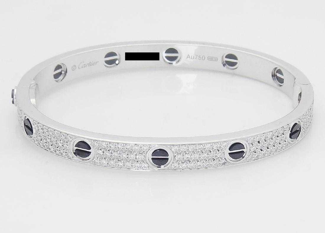 6d0f0a27fa0 Cartier 18k Black Ceramic Diamond Paved Love Bracelet