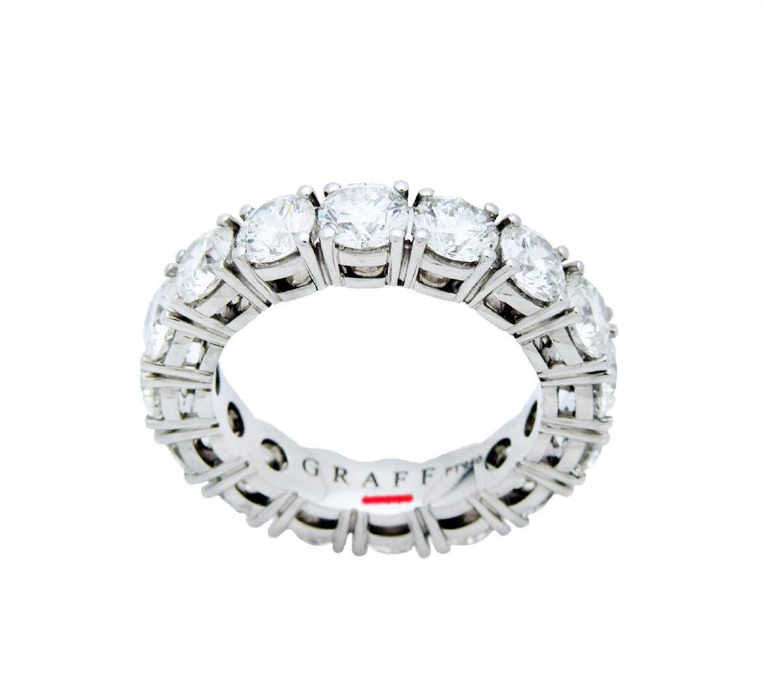Graff  Platinum Round Cut Eternity Band Ring Size 6.25