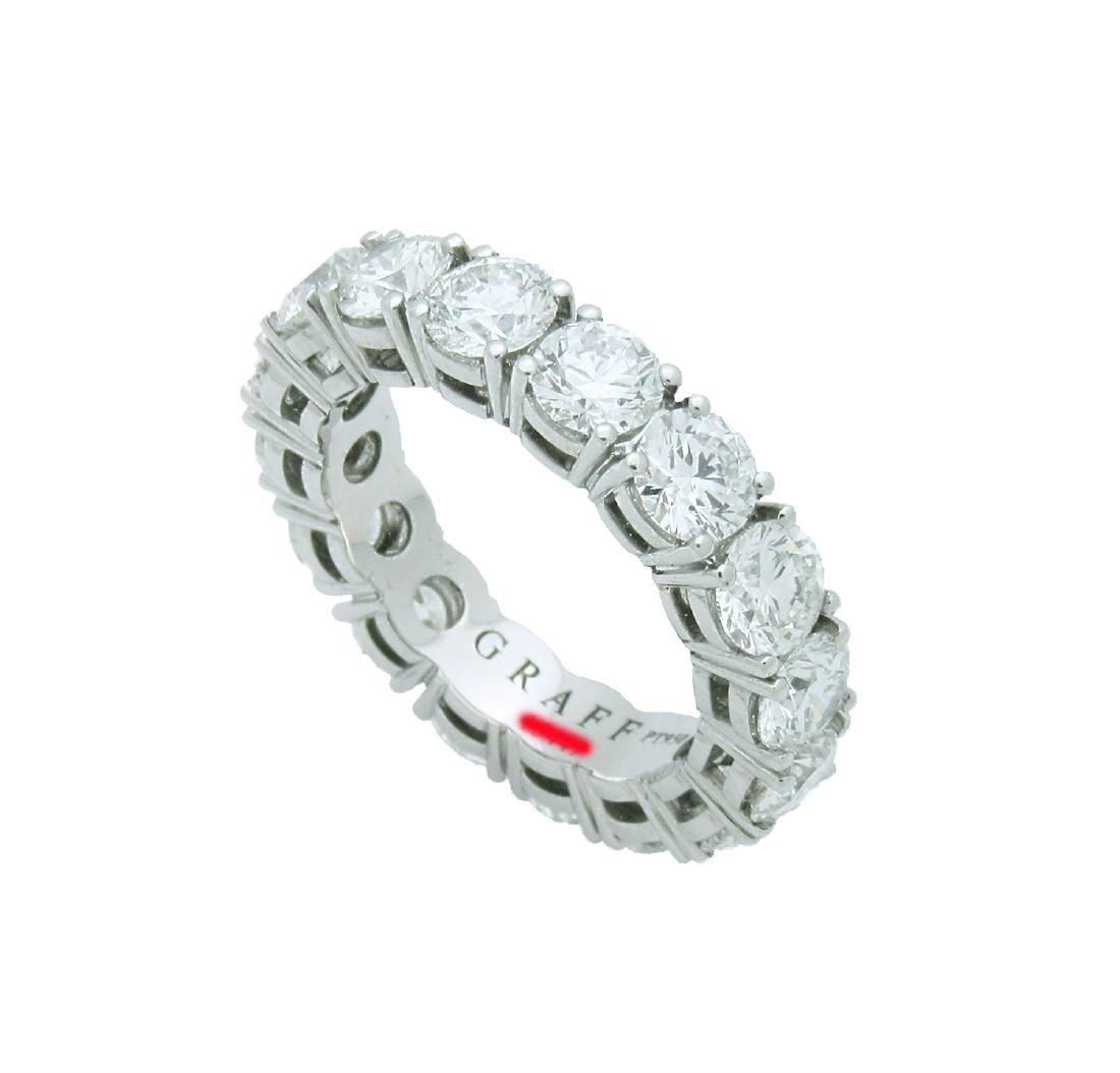 Graff  Platinum Round Cut Eternity Band Ring Size 6.25 - 2