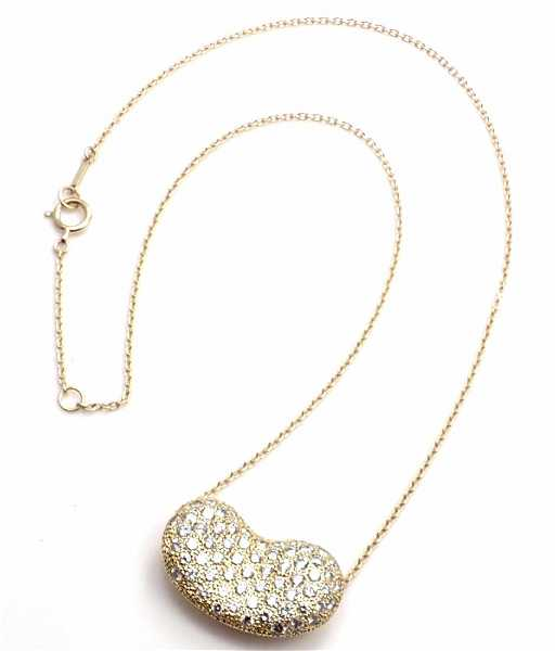 8348201e9 TIFFANY & CO Elsa Peretti 18k Diamond Bean Necklace. placeholder