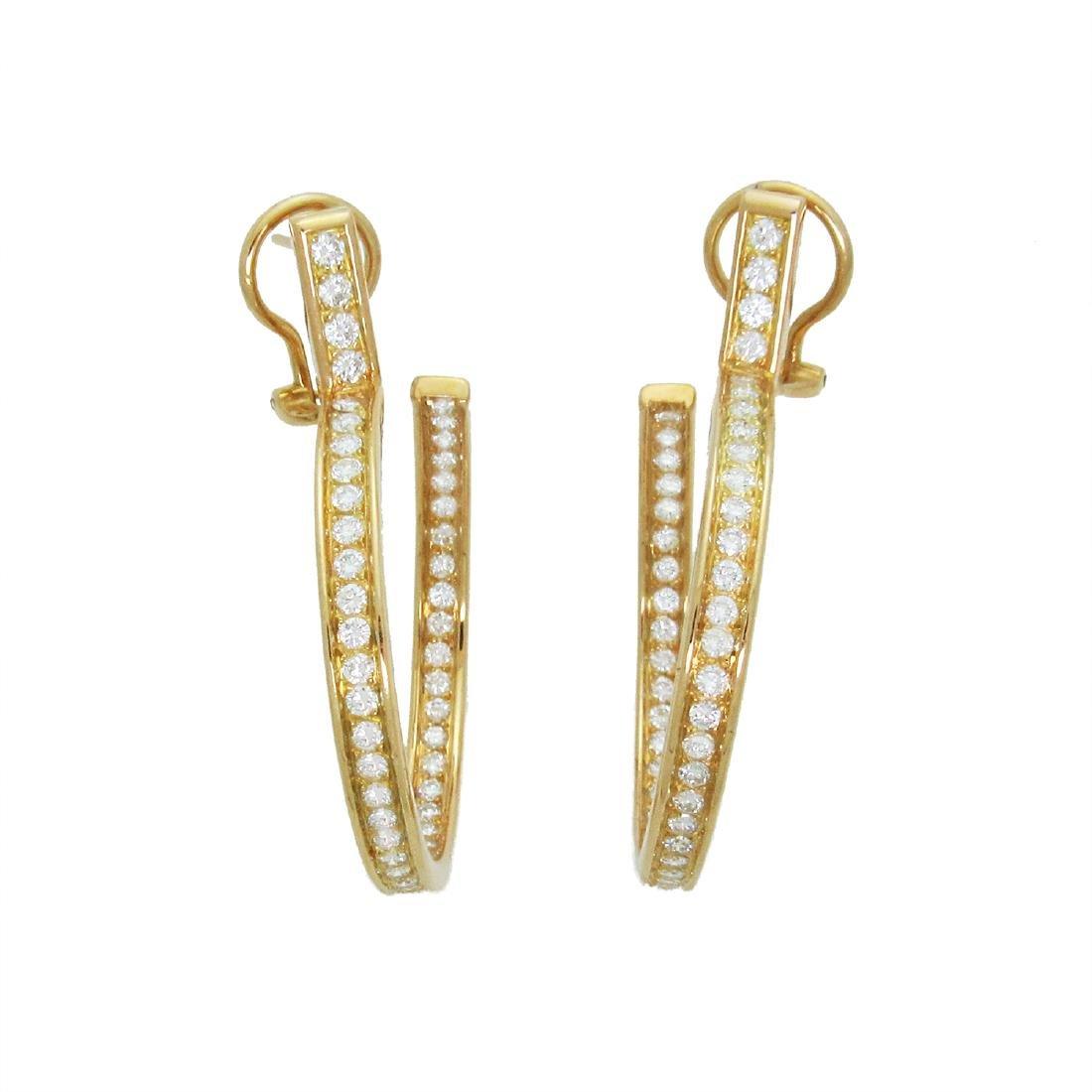 Estate 18K Cartier Diamond Hoop Earrings