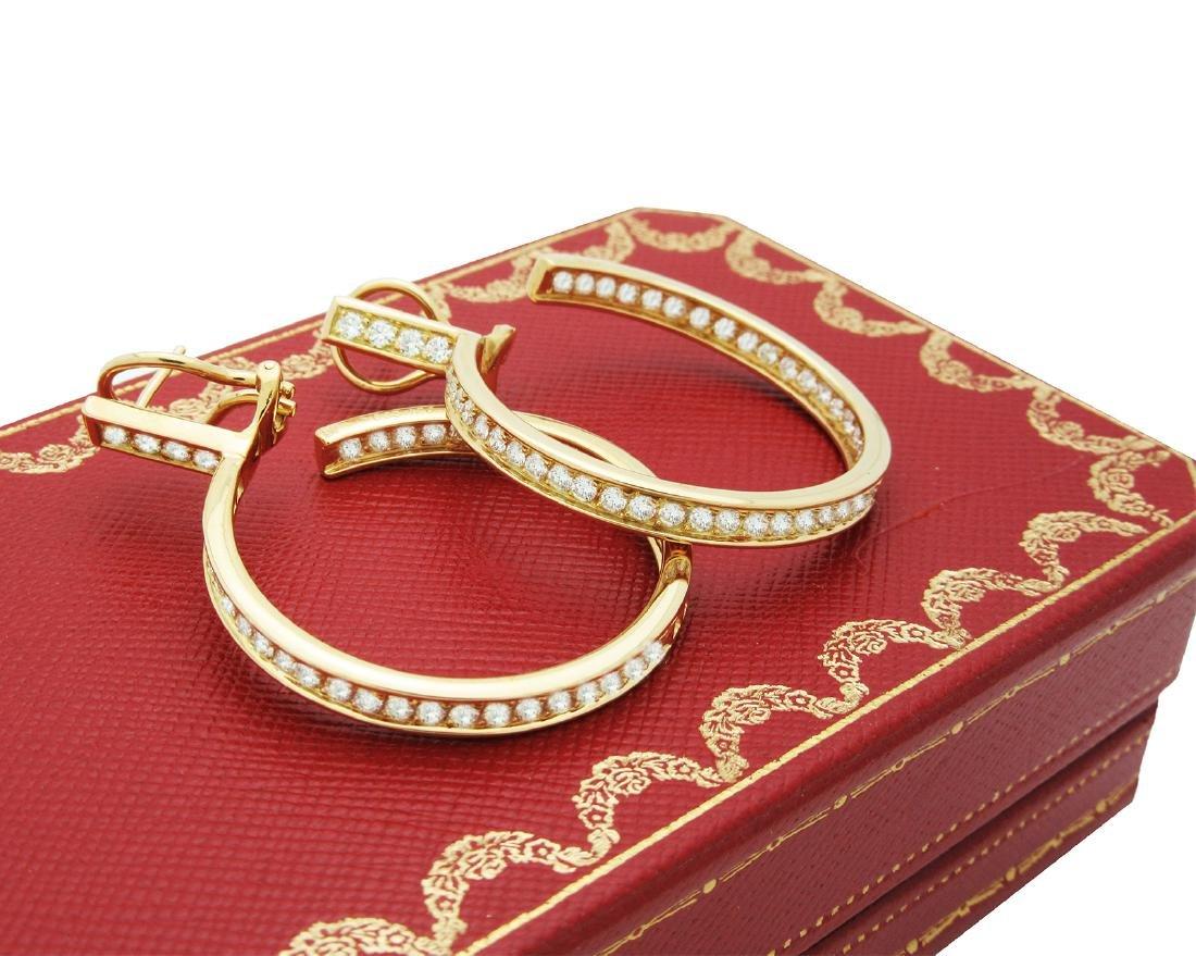 Estate 18K Cartier Diamond Hoop Earrings - 2