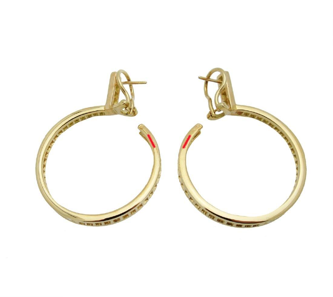 Estate 18K Cartier Diamond Hoop Earrings - 3