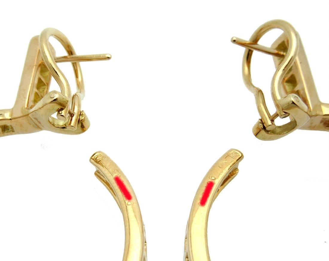 Estate 18K Cartier Diamond Hoop Earrings - 4