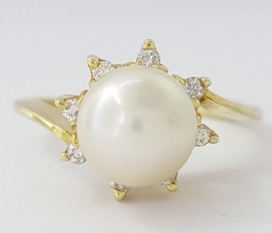 14k Yellow Gold Top Quality Akoya Pearl Ring