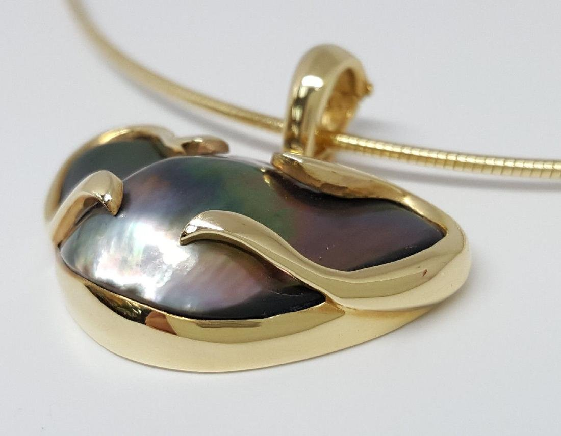 14K Yellow Gold Tahitian Pearl Pendant / Necklace - 3