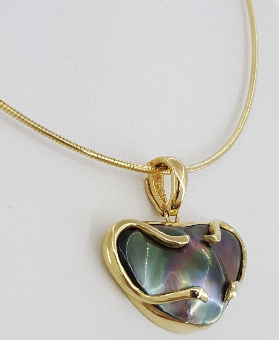 14K Yellow Gold Tahitian Pearl Pendant / Necklace - 5