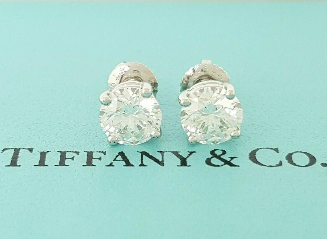 Tiffany & Co 1.93 ct Round Cut Diamond Stud Earrings
