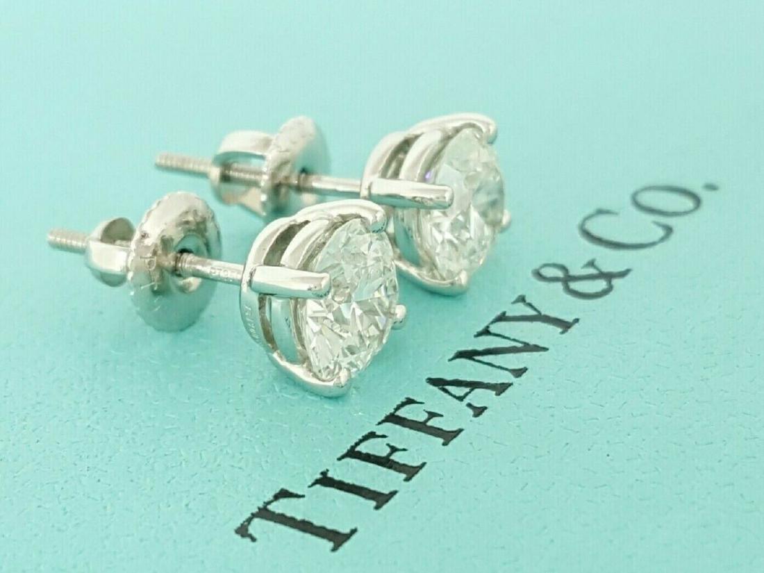Tiffany & Co 1.93 ct Round Cut Diamond Stud Earrings - 3