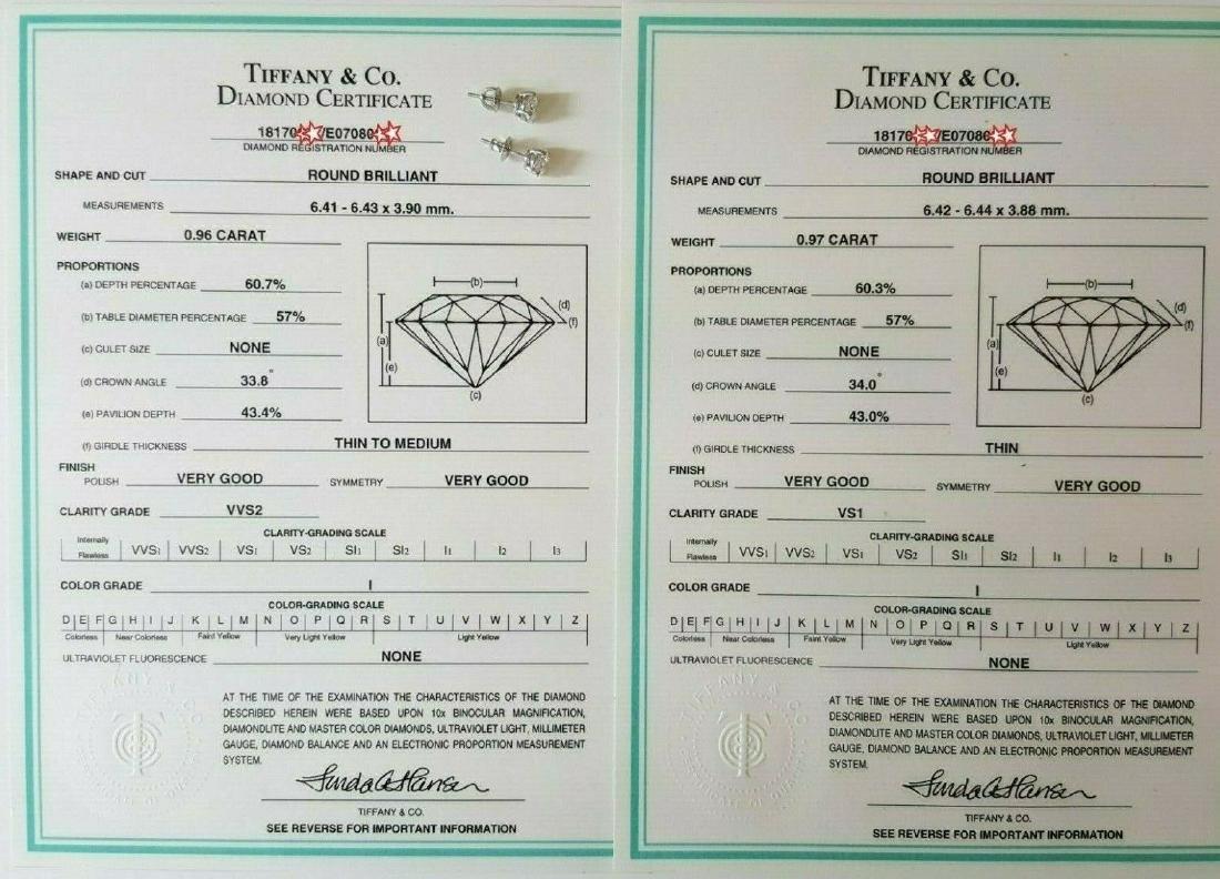 Tiffany & Co 1.93 ct Round Cut Diamond Stud Earrings - 4