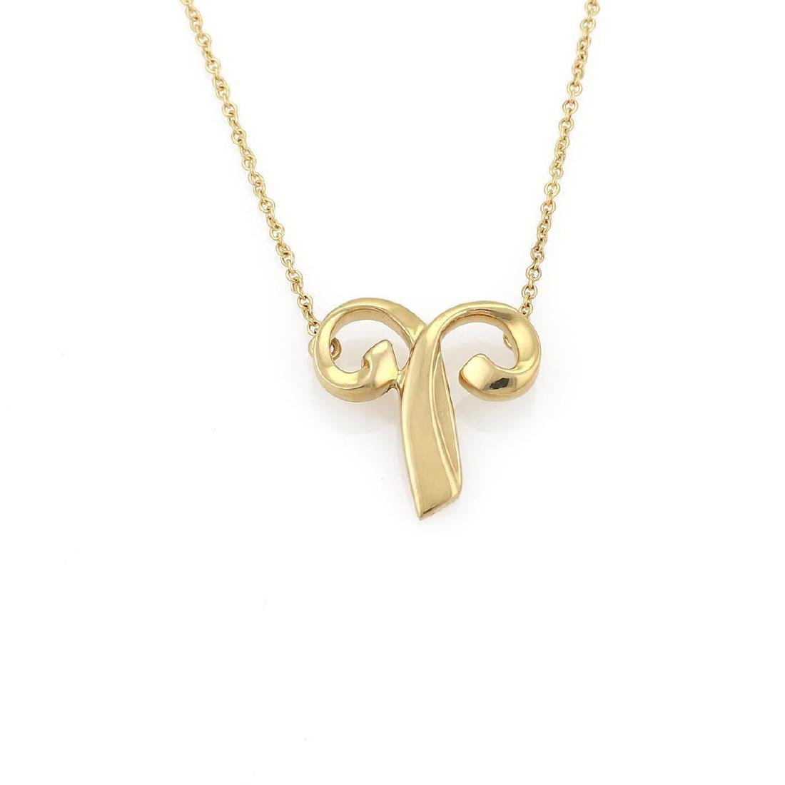 """Tiffany & Co. Picasso """"Aries"""" 18k Gold Pendant & Chain"""