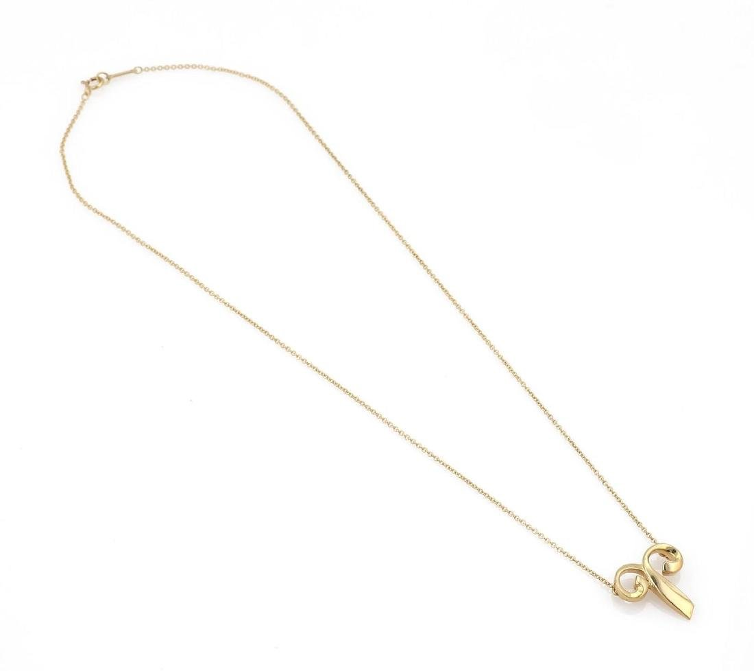 """Tiffany & Co. Picasso """"Aries"""" 18k Gold Pendant & Chain - 5"""
