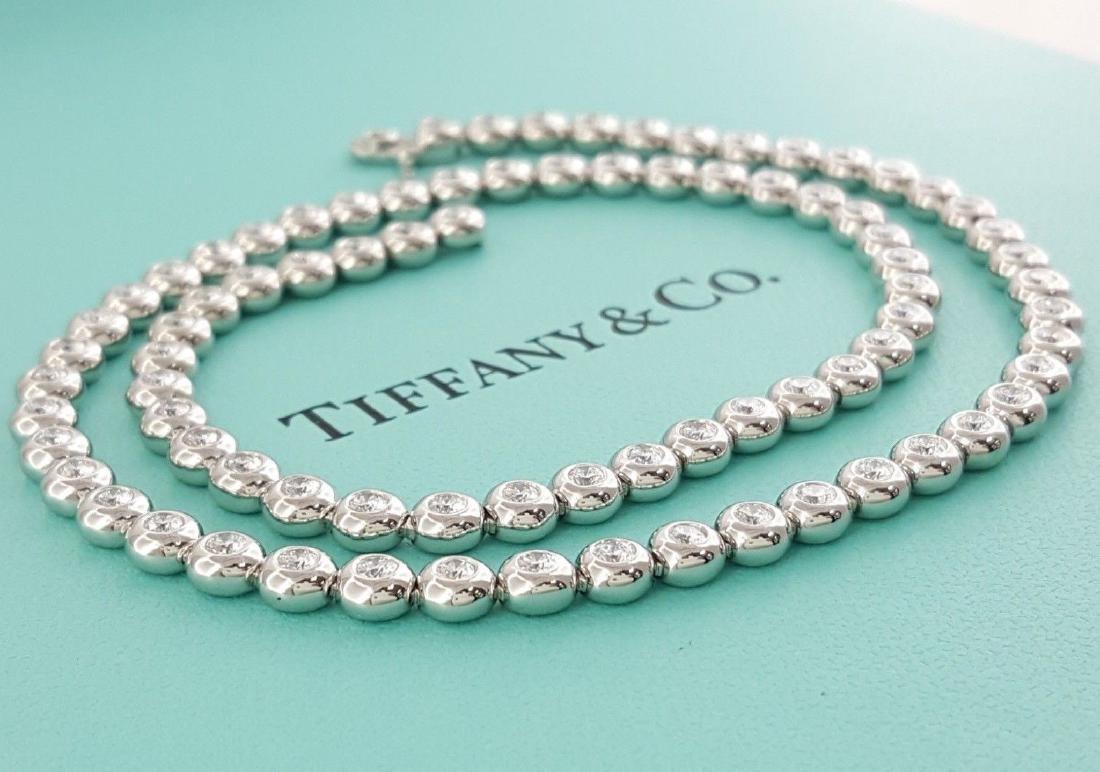 Tiffany & Co Platinum 4.29 ct Diamond Set Line Necklace - 3